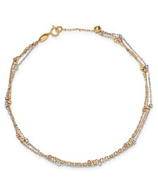 Three Strand Beaded Anklet in 14k White, Yellow and Rose Gold