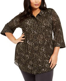 Style & Co Plus Size Animal Print Blouse, Created For Macy's