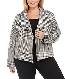Plus Size Houndstooth Wing-Collar Jacket
