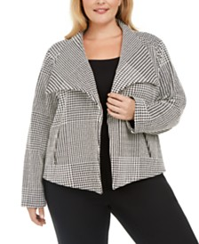 Calvin Klein Plus Size Houndstooth Wing-Collar Jacket