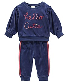 Baby Girls 2-Pc. Hello Cutie Sweatshirt & Jogger Pants Set, Created For Macy's