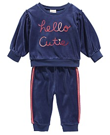 First Impressions Baby Girls 2-Pc. Hello Cutie Sweatshirt & Jogger Pants Set, Created For Macy's