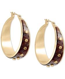 """Medium Gold-Tone Rivet Hoop Earrings 1-2/5"""""""