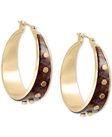 """Lucky Brand Medium Gold-Tone Rivet Hoop Earrings 1-2/5"""""""