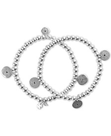 Silver-Tone 2-Pc. Set Pavé Disc Charm Beaded Stretch Bracelets