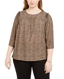 Michael Kors Plus Size Animal-Print Ruffled-Sleeve Top