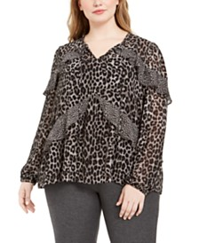 Michael Michael Kors Plus Size Mixed-Print Ruffled Top