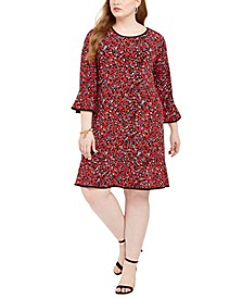 Woodland Printed Bell-Sleeve Dress