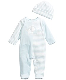 Baby Boys 2-Pc. Hat & Footed Elephant Coverall Set, Created For Macy's