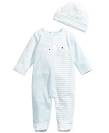 First Impressions Baby Boys 2-Pc. Hat & Footed Elephant Coverall Set, Created For Macy's