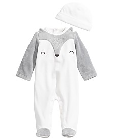 First Impressions Baby Boys 2-Pc. Hat & Footed Fox Coverall Set, Created For Macy's