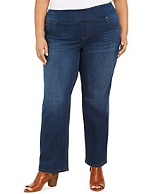 Plus Size Ella Tummy-Control Straight-Leg Jeans, Created For Macy's
