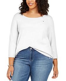 Plus Size 3/4-Sleeve T-Shirt