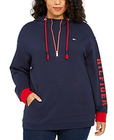 Plus Size Half-Zip Logo Hoodie