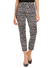Michael Michael Kors Leopard Print Pull-On Pants, Regular & Petite Sizes