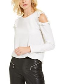 Michael Michael Kors Metallic Cold-Shoulder Top, Regular & Petite Sizes
