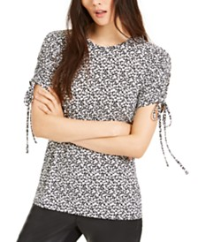 Michael Michael Kors Leaf Garden Printed Ruched-Sleeve Top, Regular & Petite Sizes