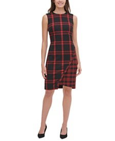 Tommy Hilfiger Petite Plaid Asymmetrical-Hem Sweater Dress