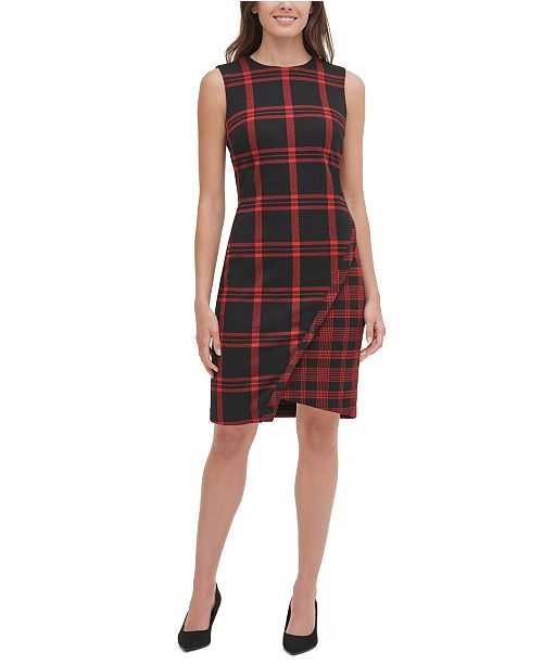 Tommy Hilfiger Petite Plaid Asymmetrical Sweater Dress