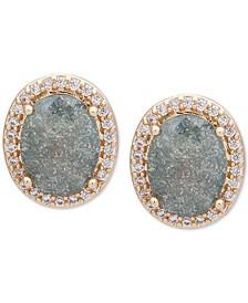 Gold-Tone Oval Stone Stud Earrings