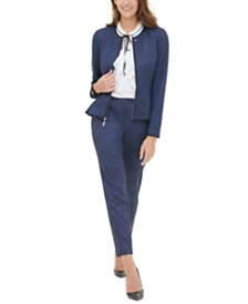 Tommy Hilfiger Zippered Blazer & Ankle Pants