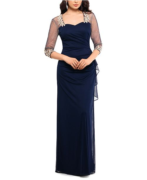 XSCAPE Illusion-Sleeve Gown
