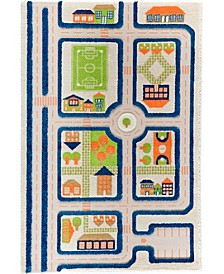 """Traffic 3D Childrens Play Mat & Rug in A Colorful Town Design with Soccer Field, Car Park&Roads - 72""""L x 53""""W"""