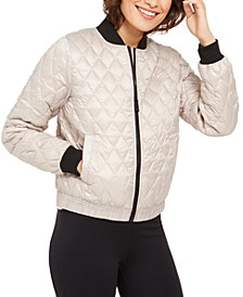 Diamond-Quilted Insulated Bomber Jacket