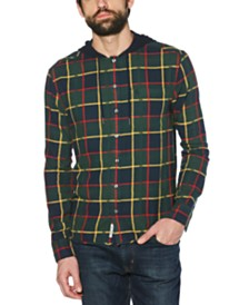 Original Penguin Men's Plaid Flannel Hooded Shirt
