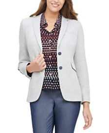 Tommy Hilfiger Elbow-Patch Button-Cuff Blazer