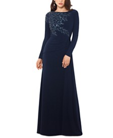 XSCAPE Long-Sleeve Sequin-Shoulder Gown
