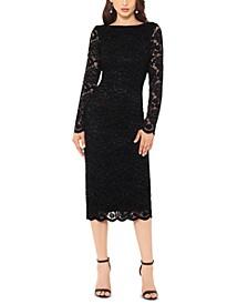 Lace Long-Sleeve Midi Dress