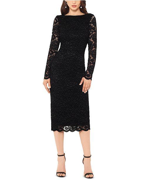 XSCAPE Lace Long-Sleeve Midi Dress