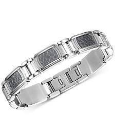 Men's Rhino Textured Titanium Inlay Bracelet in Stainless Steel