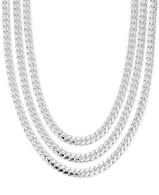 Men's Heavy Curb Link Chain Collection in Sterling Silver