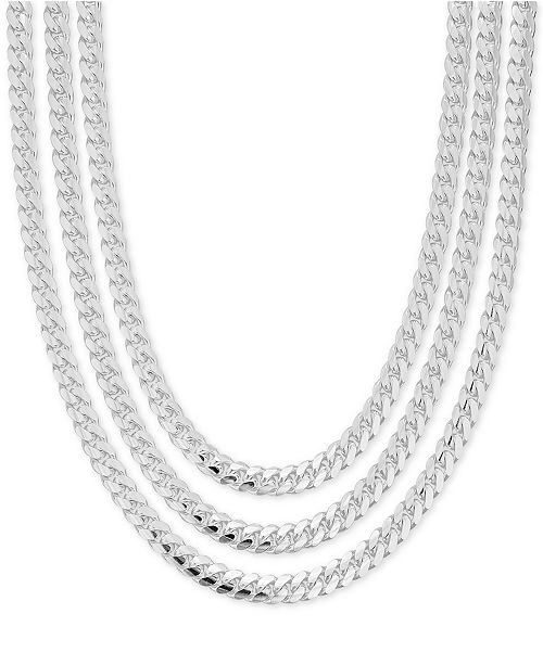 Macy S Men S Heavy Curb Link Chain Collection In Sterling Silver Reviews Necklaces Jewelry Watches Macy S