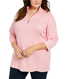Plus Size Cotton Mock Neck Tunic, Created For Macy's