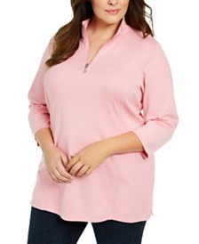 Karen Scott Plus Size Cotton Mock Neck Tunic, Created For Macy's