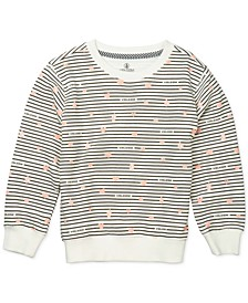 Toddler & Little Girls Striped Fleece Sweatshirt