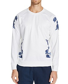 Men's Slim-Fit Stretch Floral Sweat Shirt