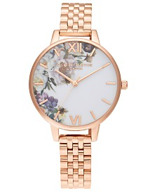 Olivia Burton Women's Enchanted Garden Rose Gold-Tone Stainless Steel Bracelet Watch 34mm