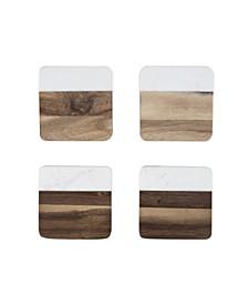 Marble Acacia Coaster Set