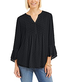 Petite Double-Ruffle Textured Pintuck Top, Created for Macy's