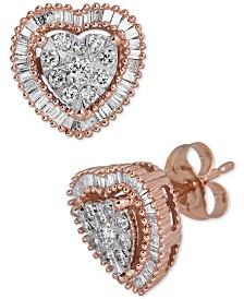 Diamond Heart Cluster Halo Stud Earrings (1/2 ct. t.w.)
