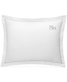 """Charter Club Damask Designs """"Mrs"""" Cotton 20"""" x 28"""" Sham, Created For Macy's"""