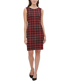 Knit Plaid Sheath Dress