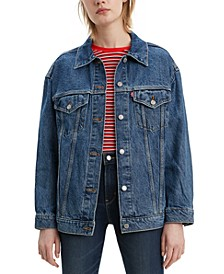 Women's Baggy Trucker Embellished Cotton Denim Jacket
