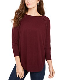 Petite Lace-Up Chevron-Trim Sweater, Created for Macy's