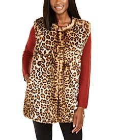 INC Leopard-Print Faux-Fur Duster, Created for Macy's