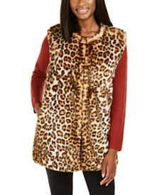 I.N.C. Leopard-Print Faux-Fur Duster, Created For Macy's